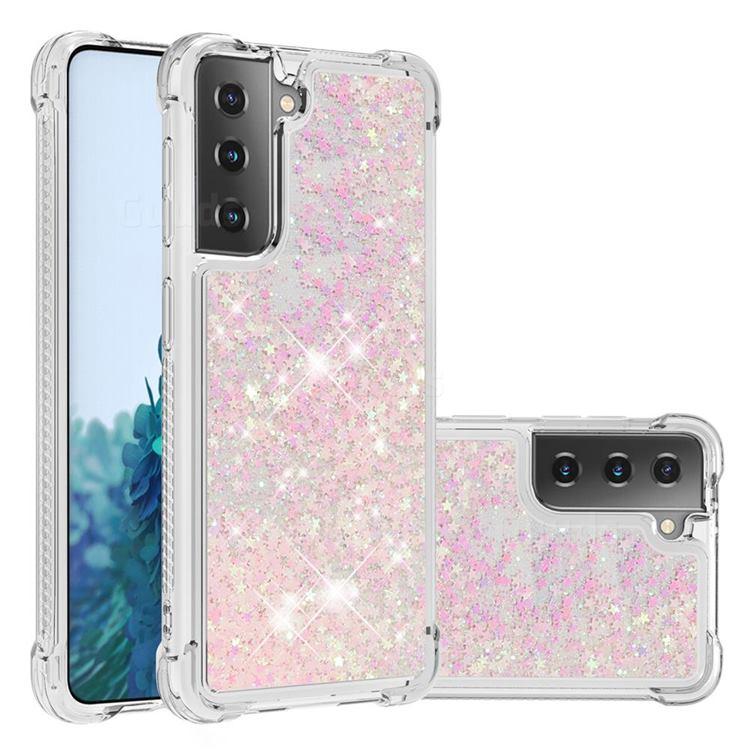 Dynamic Liquid Glitter Sand Quicksand TPU Case for Samsung Galaxy S21 - Silver Powder Star