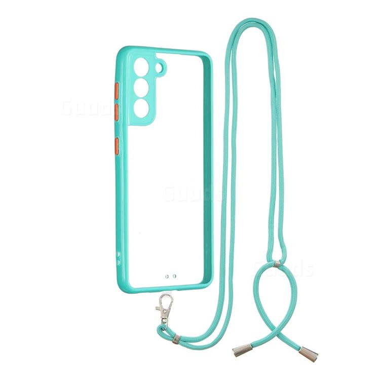 Necklace Cross-body Lanyard Strap Cord Phone Case Cover for Samsung Galaxy S21 - Blue