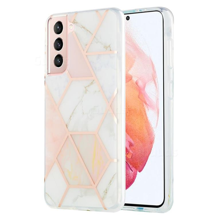 Pink White Marble Pattern Galvanized Electroplating Protective Case Cover for Samsung Galaxy S21