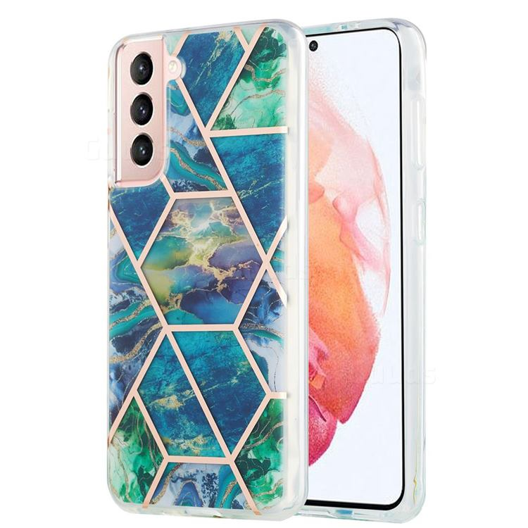 Blue Green Marble Pattern Galvanized Electroplating Protective Case Cover for Samsung Galaxy S21