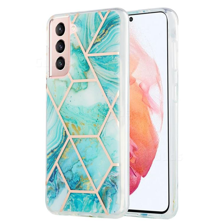 Blue Sea Marble Pattern Galvanized Electroplating Protective Case Cover for Samsung Galaxy S21
