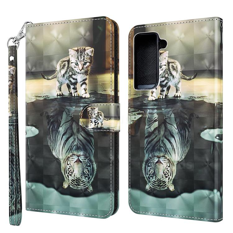 Tiger and Cat 3D Painted Leather Wallet Case for Samsung Galaxy S30 / Galaxy S21