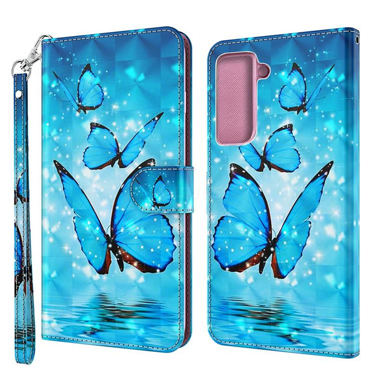Blue Sea Butterflies 3D Painted Leather Wallet Case for Samsung Galaxy S30 / Galaxy S21