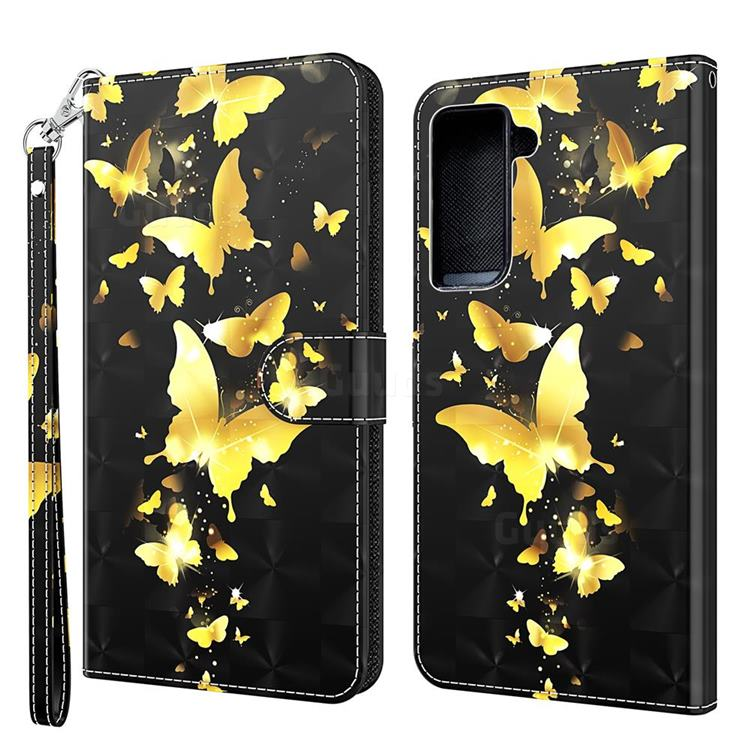 Golden Butterfly 3D Painted Leather Wallet Case for Samsung Galaxy S30 / Galaxy S21