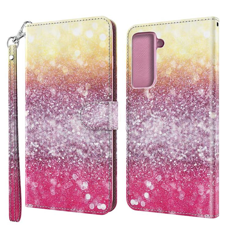 Gradient Rainbow 3D Painted Leather Wallet Case for Samsung Galaxy S30 / Galaxy S21