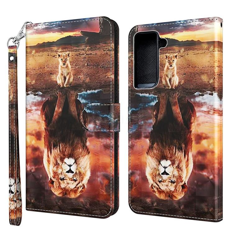 Fantasy Lion 3D Painted Leather Wallet Case for Samsung Galaxy S30 / Galaxy S21
