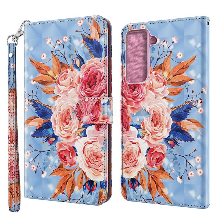 Rose Flower 3D Painted Leather Wallet Case for Samsung Galaxy S30 / Galaxy S21