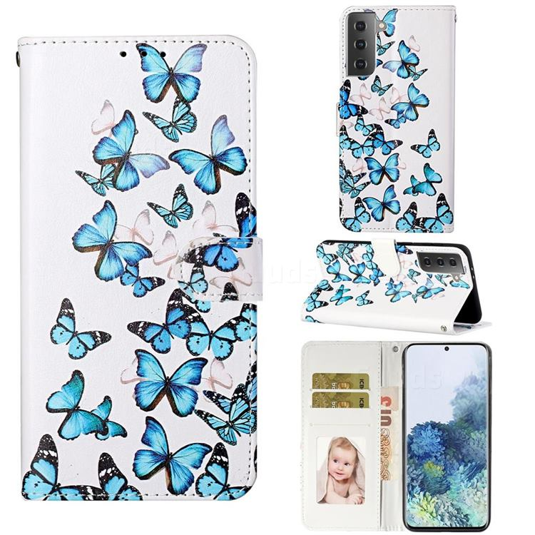 Blue Vivid Butterflies PU Leather Wallet Case for Samsung Galaxy S21 / Galaxy S30