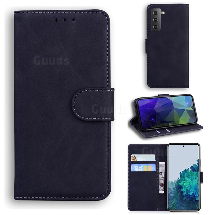 Retro Classic Skin Feel Leather Wallet Phone Case for Samsung Galaxy S21 / Galaxy S30 - Black