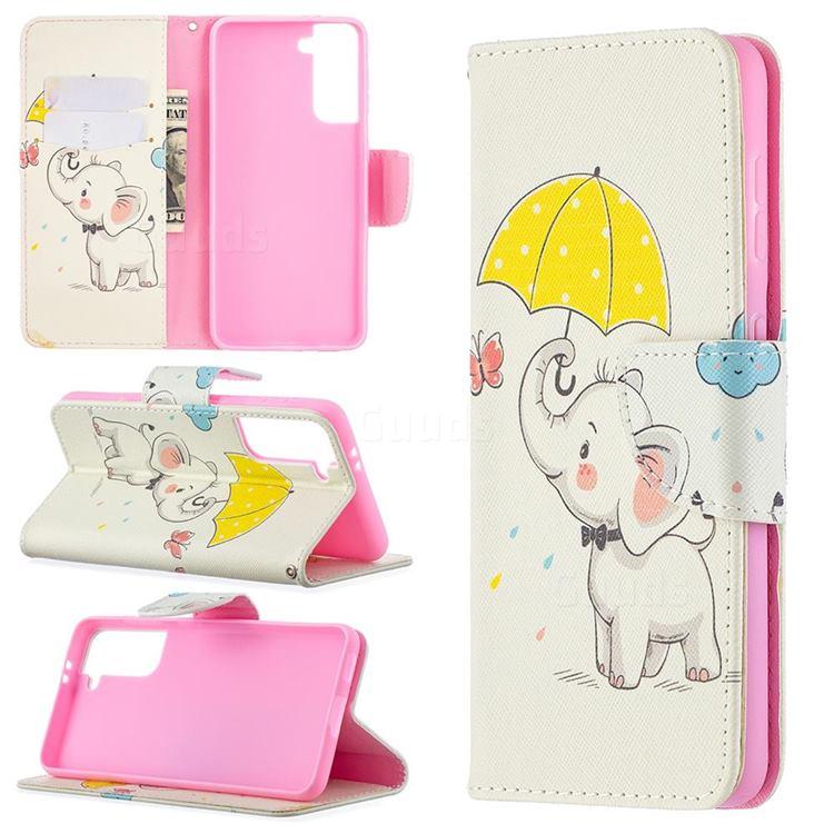 Umbrella Elephant Leather Wallet Case for Samsung Galaxy S21 / Galaxy S30