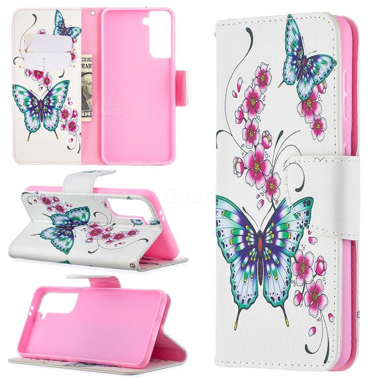 Peach Butterflies Leather Wallet Case for Samsung Galaxy S21 / Galaxy S30