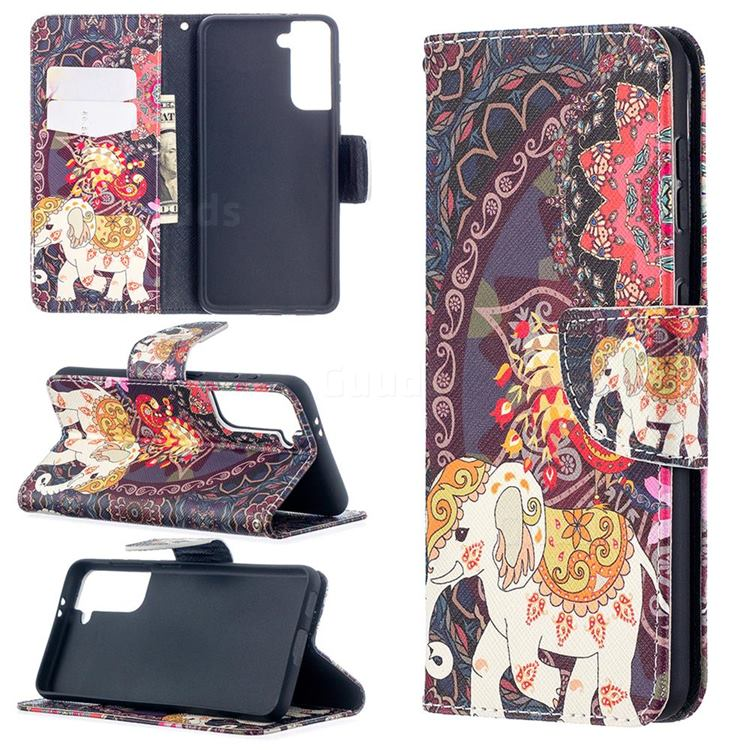 Totem Flower Elephant Leather Wallet Case for Samsung Galaxy S21 / Galaxy S30