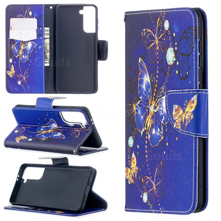 Purple Butterfly Leather Wallet Case for Samsung Galaxy S21 / Galaxy S30