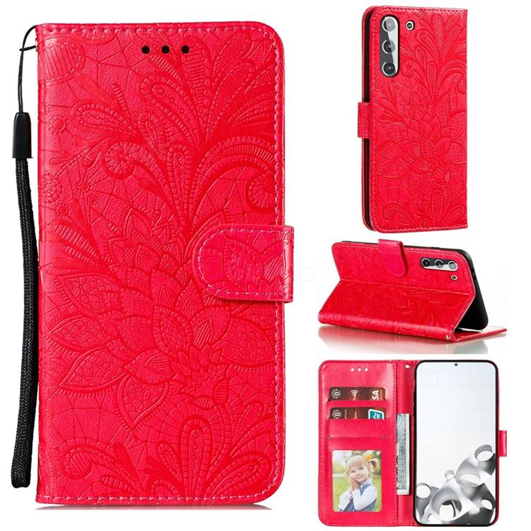 Intricate Embossing Lace Jasmine Flower Leather Wallet Case for Samsung Galaxy S21 / Galaxy S30 - Red