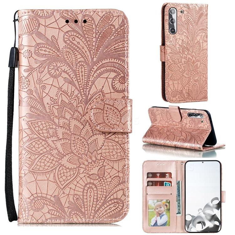 Intricate Embossing Lace Jasmine Flower Leather Wallet Case for Samsung Galaxy S21 / Galaxy S30 - Rose Gold