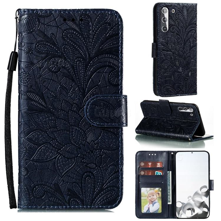 Intricate Embossing Lace Jasmine Flower Leather Wallet Case for Samsung Galaxy S21 / Galaxy S30 - Dark Blue