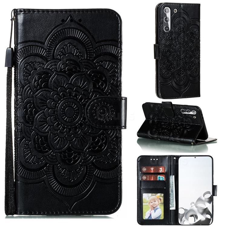 Intricate Embossing Datura Solar Leather Wallet Case for Samsung Galaxy S21 / Galaxy S30 - Black