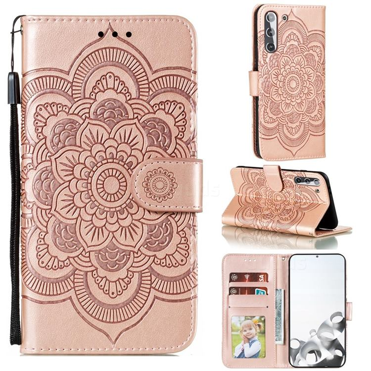 Intricate Embossing Datura Solar Leather Wallet Case for Samsung Galaxy S21 / Galaxy S30 - Rose Gold