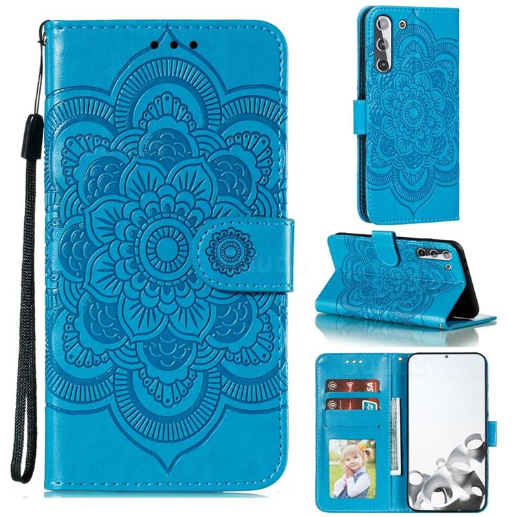 Intricate Embossing Datura Solar Leather Wallet Case for Samsung Galaxy S21 / Galaxy S30 - Blue