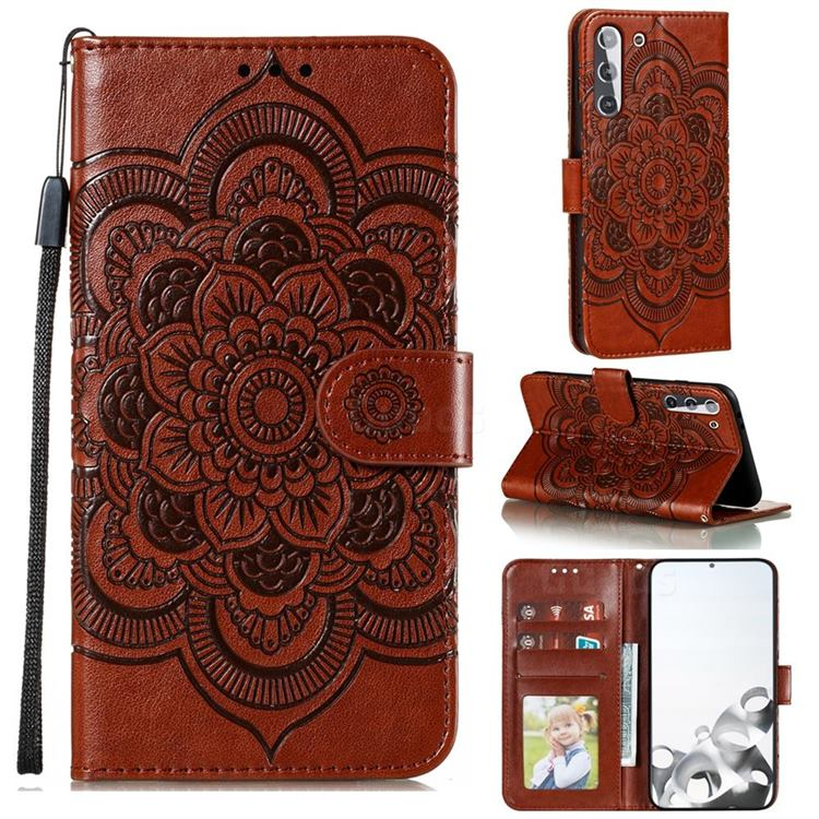 Intricate Embossing Datura Solar Leather Wallet Case for Samsung Galaxy S21 / Galaxy S30 - Brown