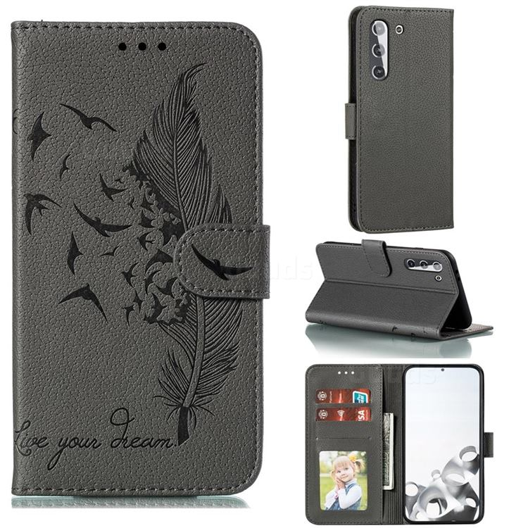 Intricate Embossing Lychee Feather Bird Leather Wallet Case for Samsung Galaxy S21 / Galaxy S30 - Gray