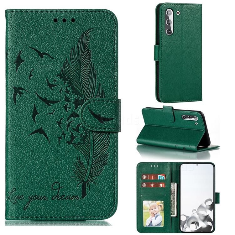 Intricate Embossing Lychee Feather Bird Leather Wallet Case for Samsung Galaxy S21 / Galaxy S30 - Green