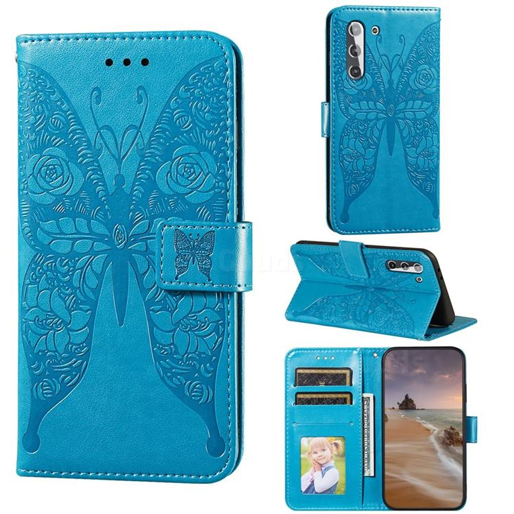 Intricate Embossing Rose Flower Butterfly Leather Wallet Case for Samsung Galaxy S21 / Galaxy S30 - Blue