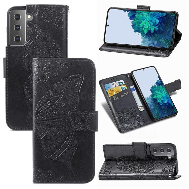 Embossing Mandala Flower Butterfly Leather Wallet Case for Samsung Galaxy S21 / Galaxy S30 - Black