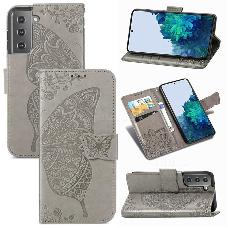 Embossing Mandala Flower Butterfly Leather Wallet Case for Samsung Galaxy S21 / Galaxy S30 - Gray