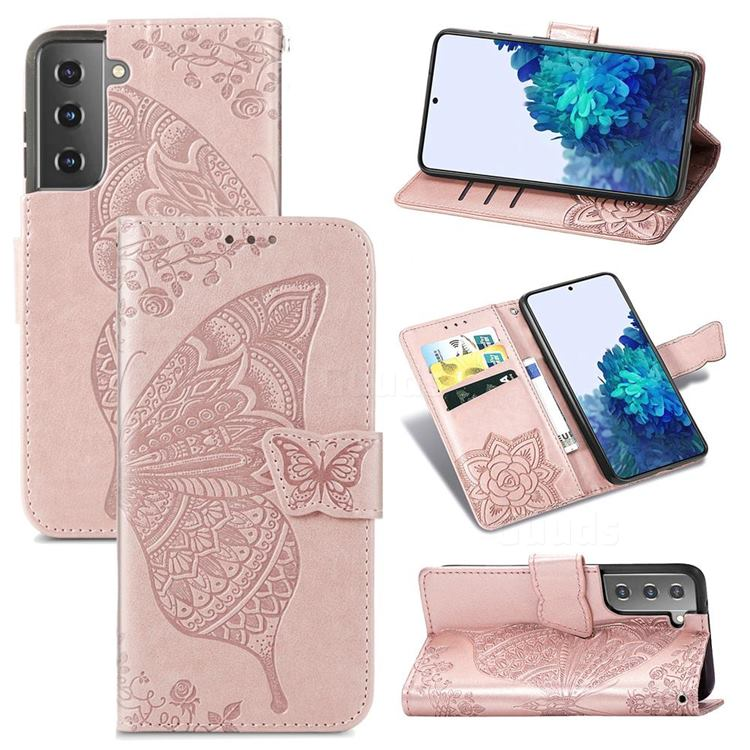Embossing Mandala Flower Butterfly Leather Wallet Case for Samsung Galaxy S21 / Galaxy S30 - Rose Gold