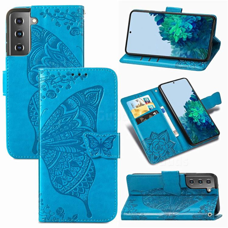 Embossing Mandala Flower Butterfly Leather Wallet Case for Samsung Galaxy S21 / Galaxy S30 - Blue