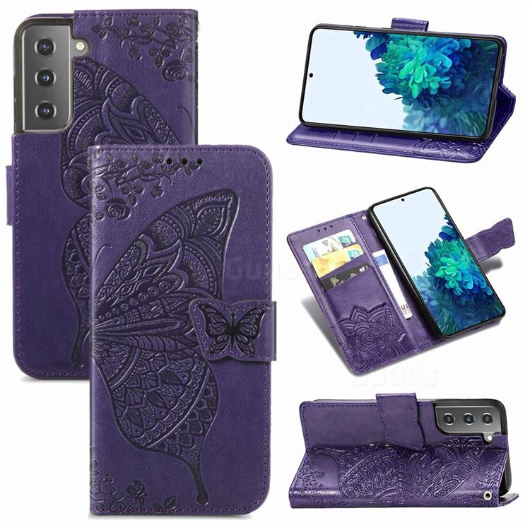Embossing Mandala Flower Butterfly Leather Wallet Case for Samsung Galaxy S21 / Galaxy S30 - Dark Purple