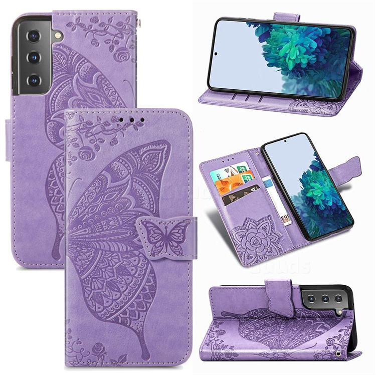Embossing Mandala Flower Butterfly Leather Wallet Case for Samsung Galaxy S21 / Galaxy S30 - Light Purple