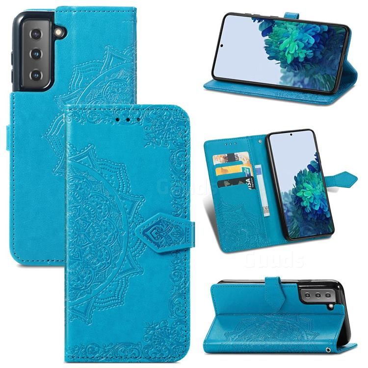 Embossing Imprint Mandala Flower Leather Wallet Case for Samsung Galaxy S21 / Galaxy S30 - Blue
