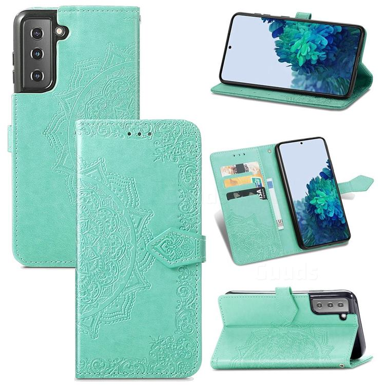 Embossing Imprint Mandala Flower Leather Wallet Case for Samsung Galaxy S21 / Galaxy S30 - Green