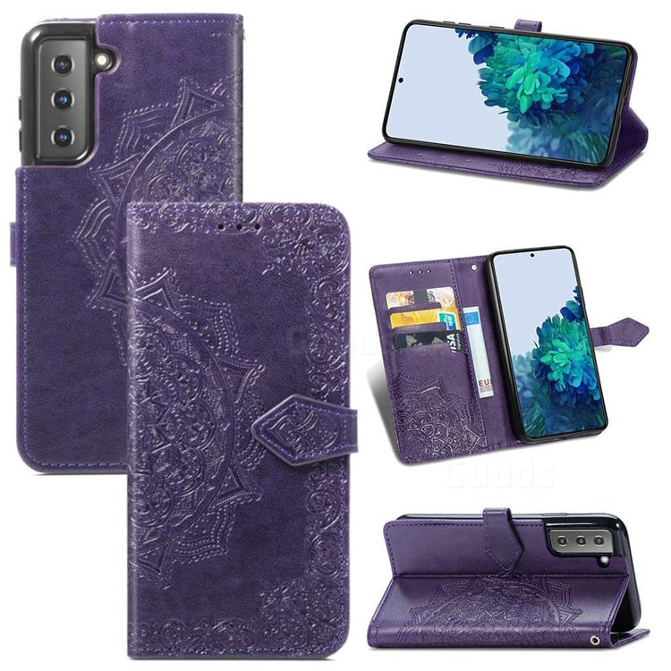 Embossing Imprint Mandala Flower Leather Wallet Case for Samsung Galaxy S21 / Galaxy S30 - Purple