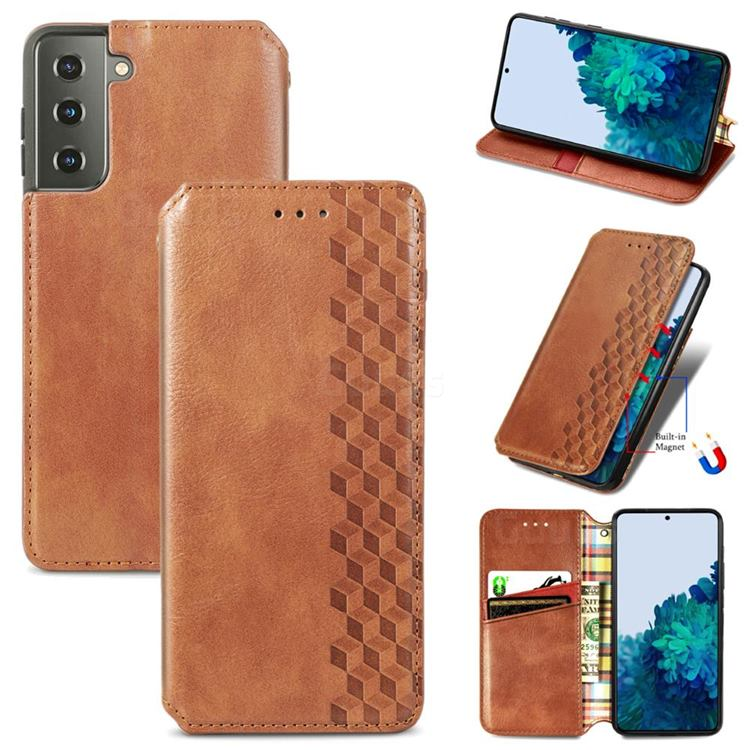 Ultra Slim Fashion Business Card Magnetic Automatic Suction Leather Flip Cover for Samsung Galaxy S21 / Galaxy S30 - Brown