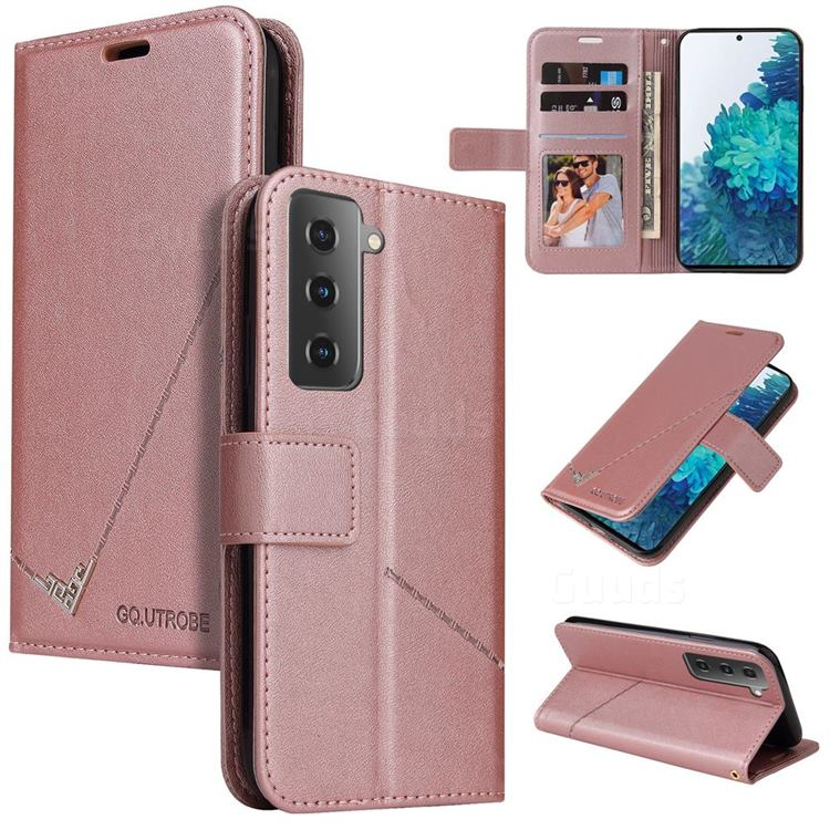GQ.UTROBE Right Angle Silver Pendant Leather Wallet Phone Case for Samsung Galaxy S21 / Galaxy S30 - Rose Gold
