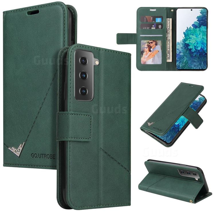 GQ.UTROBE Right Angle Silver Pendant Leather Wallet Phone Case for Samsung Galaxy S21 / Galaxy S30 - Green