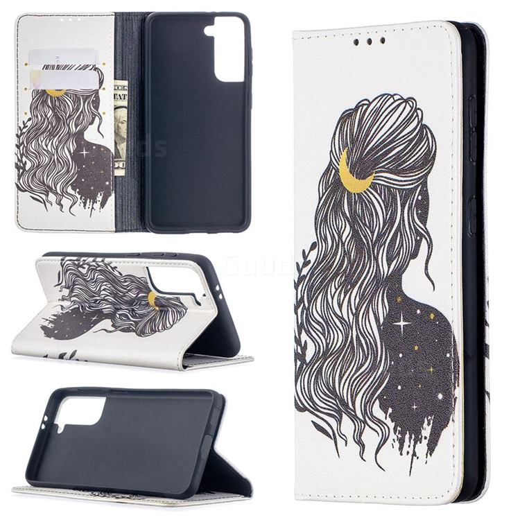 Girl with Long Hair Slim Magnetic Attraction Wallet Flip Cover for Samsung Galaxy S21 / Galaxy S30