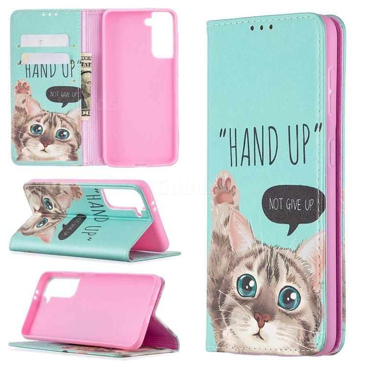 Hand Up Cat Slim Magnetic Attraction Wallet Flip Cover for Samsung Galaxy S21 / Galaxy S30