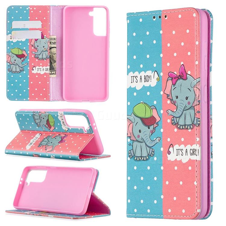 Elephant Boy and Girl Slim Magnetic Attraction Wallet Flip Cover for Samsung Galaxy S21 / Galaxy S30