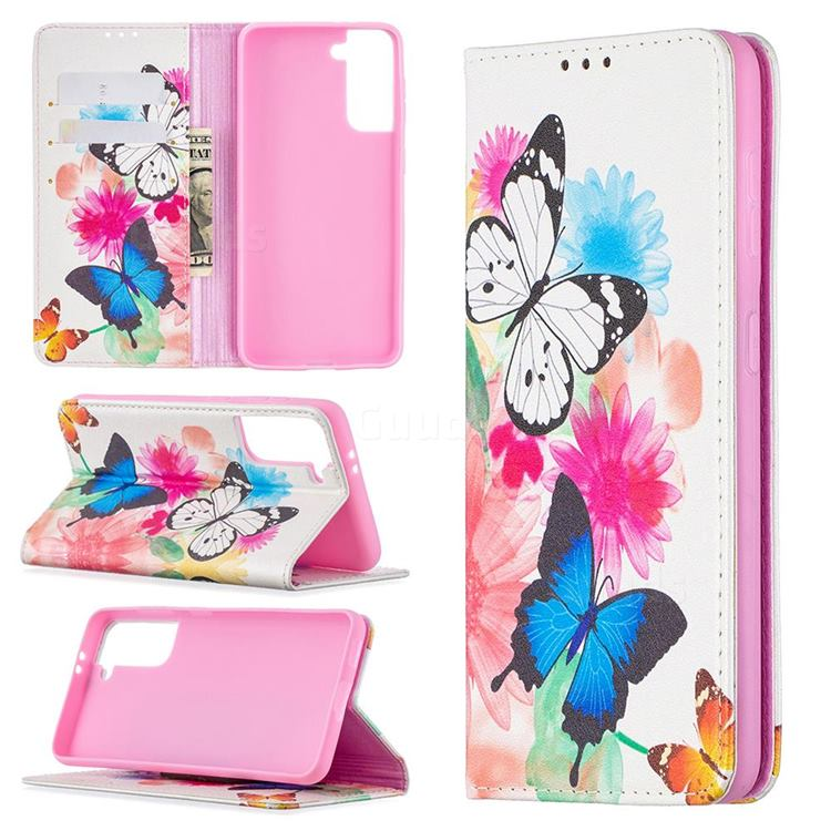 Flying Butterflies Slim Magnetic Attraction Wallet Flip Cover for Samsung Galaxy S21 / Galaxy S30
