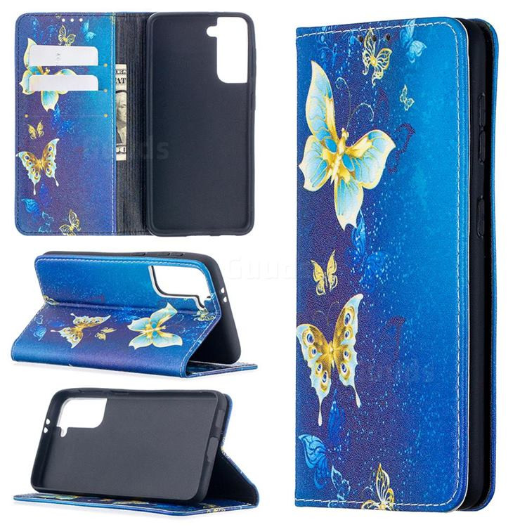 Gold Butterfly Slim Magnetic Attraction Wallet Flip Cover for Samsung Galaxy S21 / Galaxy S30