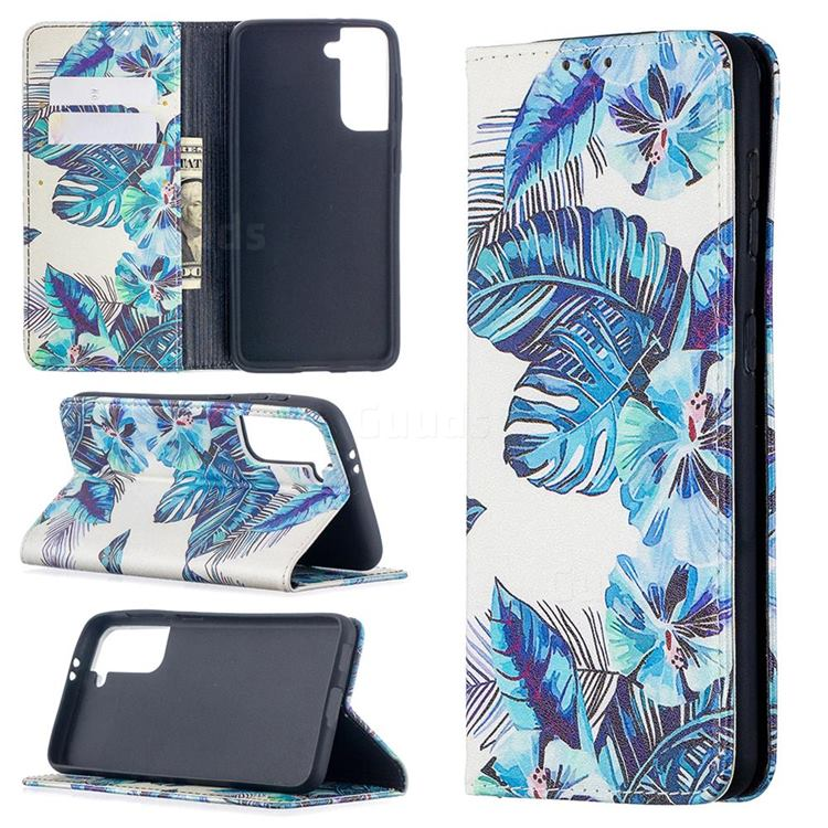 Blue Leaf Slim Magnetic Attraction Wallet Flip Cover for Samsung Galaxy S21 / Galaxy S30