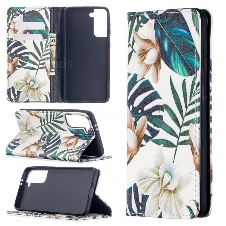 Flower Leaf Slim Magnetic Attraction Wallet Flip Cover for Samsung Galaxy S21 / Galaxy S30