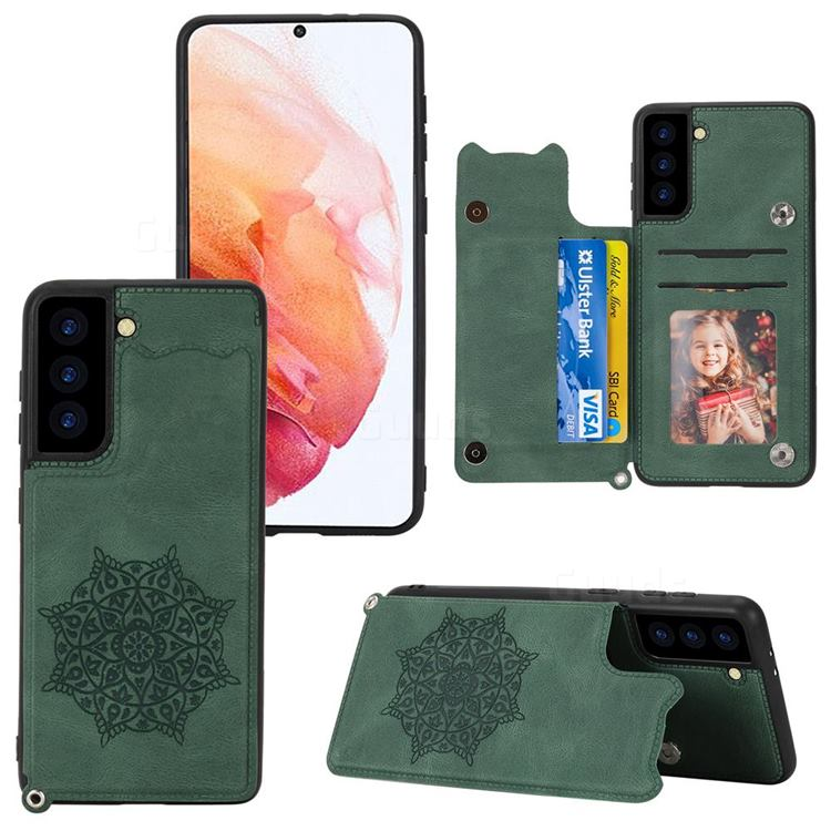 Luxury Mandala Multi-function Magnetic Card Slots Stand Leather Back Cover for Samsung Galaxy S21 - Green