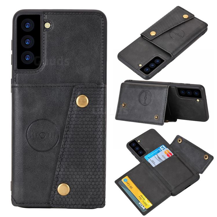 Retro Multifunction Card Slots Stand Leather Coated Phone Back Cover for Samsung Galaxy S21 - Black