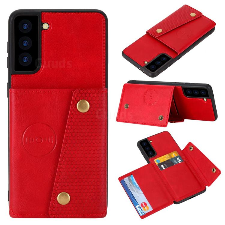 Retro Multifunction Card Slots Stand Leather Coated Phone Back Cover for Samsung Galaxy S21 - Red