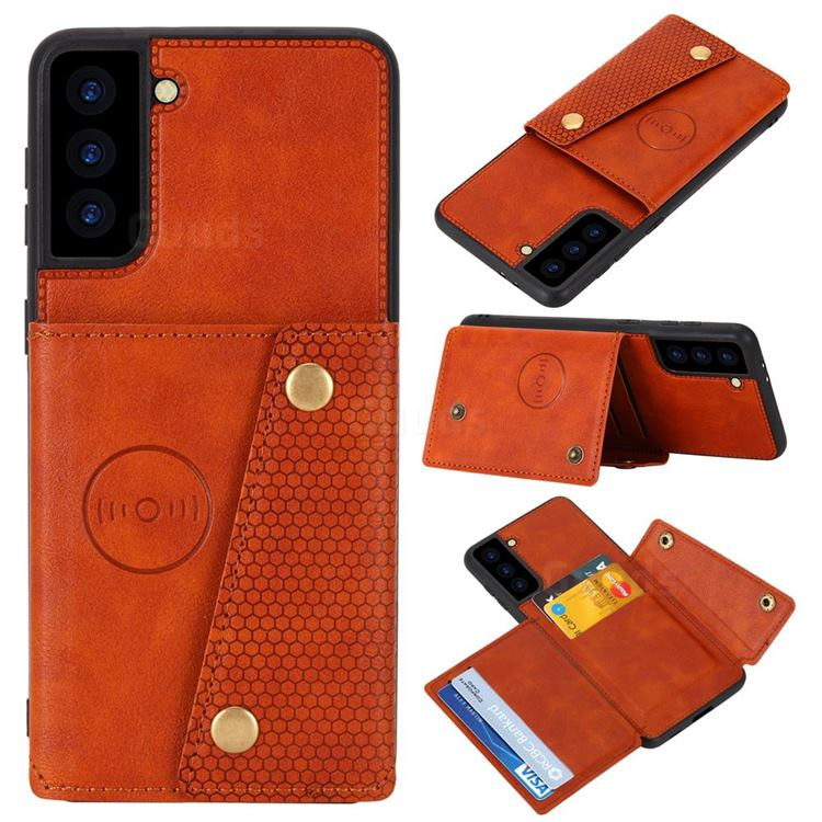 Retro Multifunction Card Slots Stand Leather Coated Phone Back Cover for Samsung Galaxy S21 - Brown